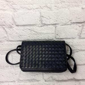 Aurielle black navy woven leather crossbody bag